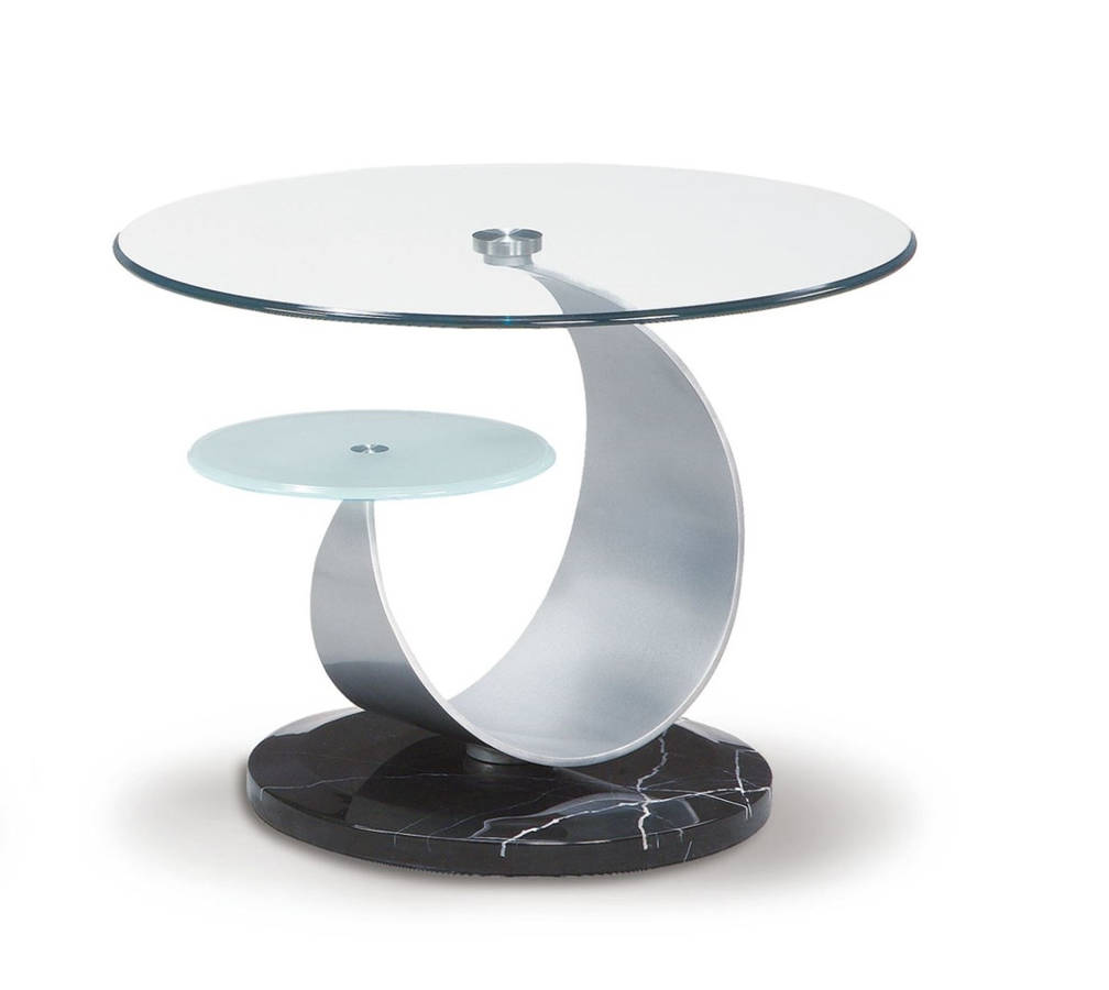 Modern Silver Black Gl Stone Marble Metal End Table The