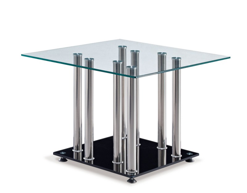 Black Chrome Metal Gl Square End Table The Cly Home