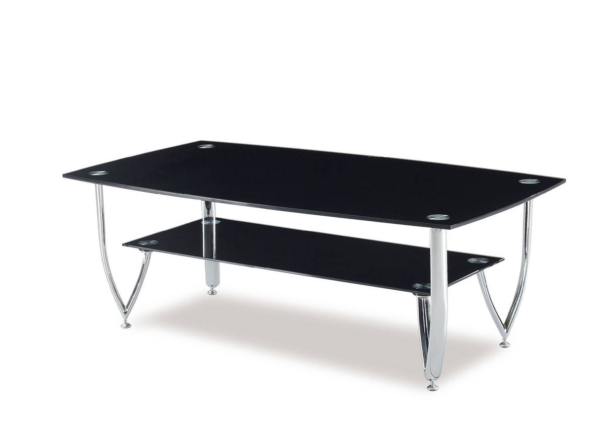 T601 Series Black Glass Metal Coffee Table