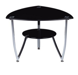 Black Chrome Metal Gl Shelves End Table The Cly Home