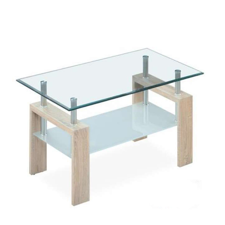 T647 Series Oak Paper Gl Top Rectangle Coffee Table The