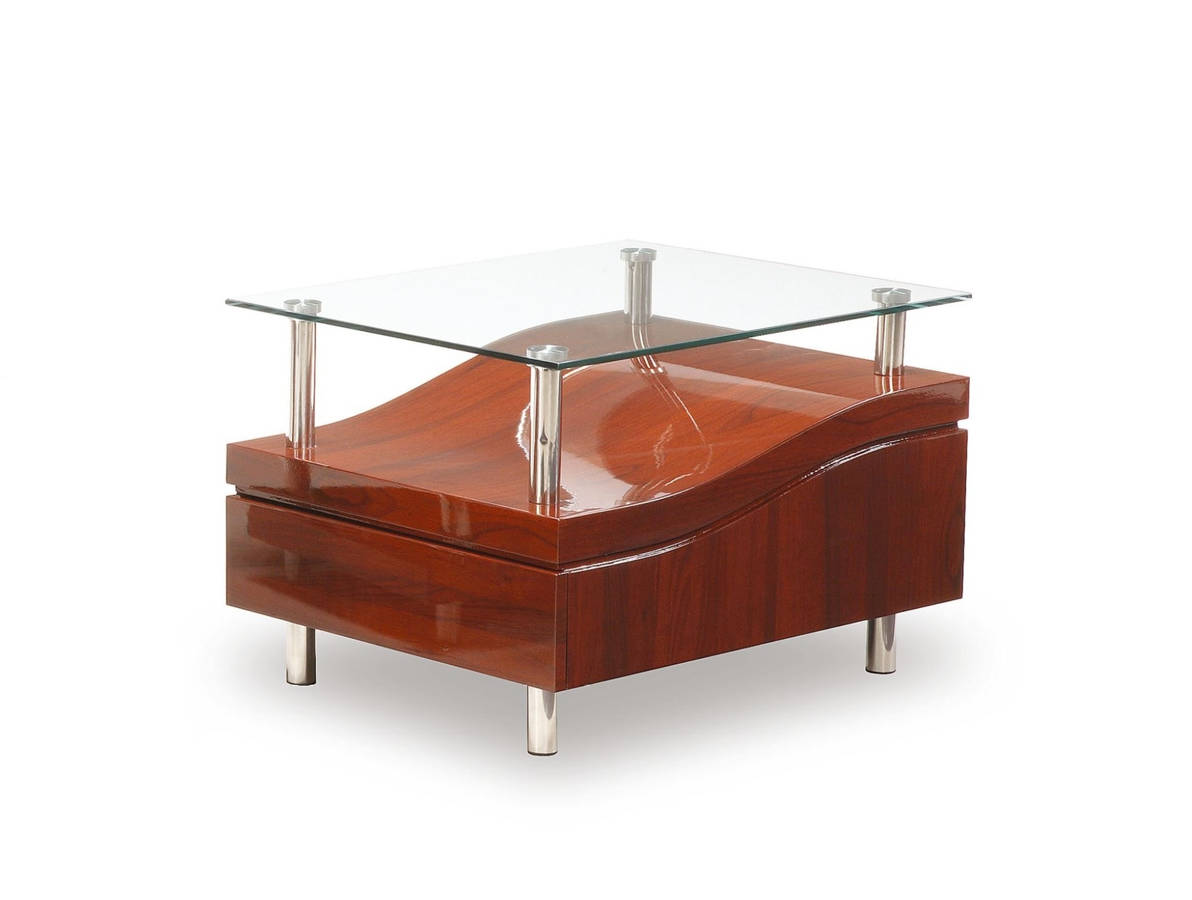Modern Mahogany Gl Mdf Wood Metal End Table The Cly Home