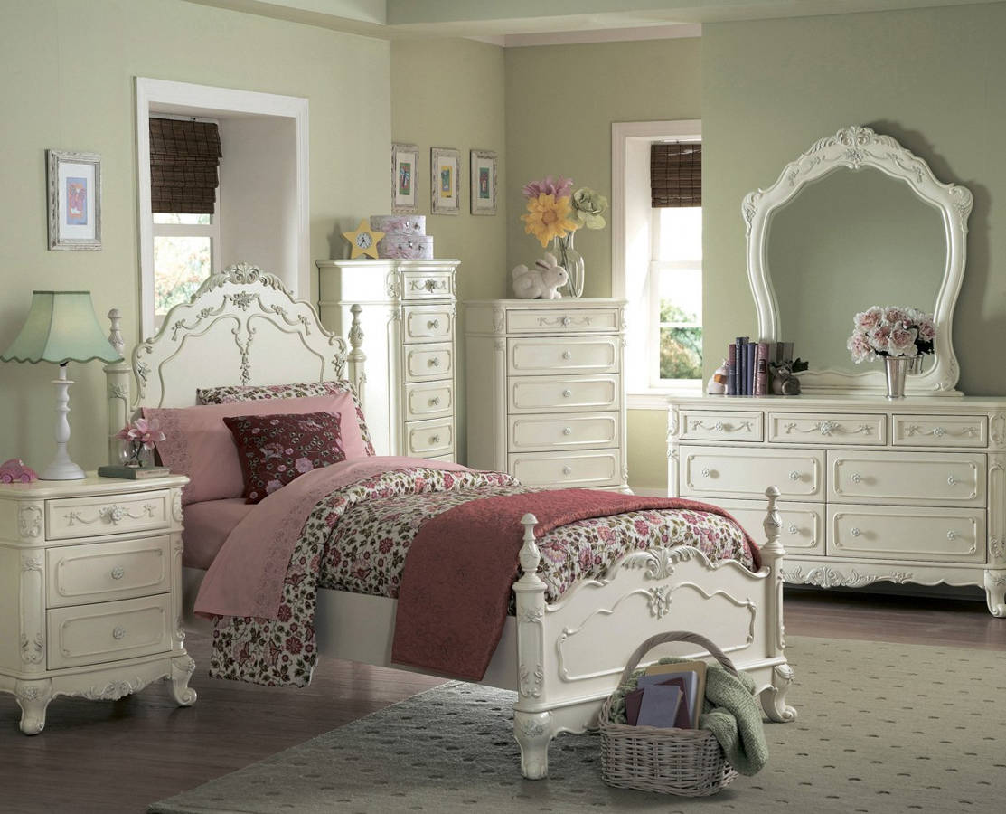 Cinderella traditional white wood master bedroom set - Traditional white bedroom furniture ...