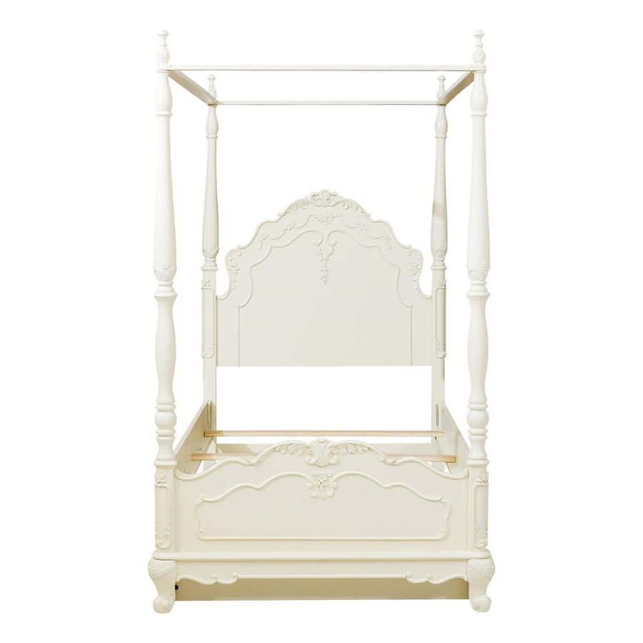- Home Elegance Cinderella Off White Twin Canopy Poster Bed With