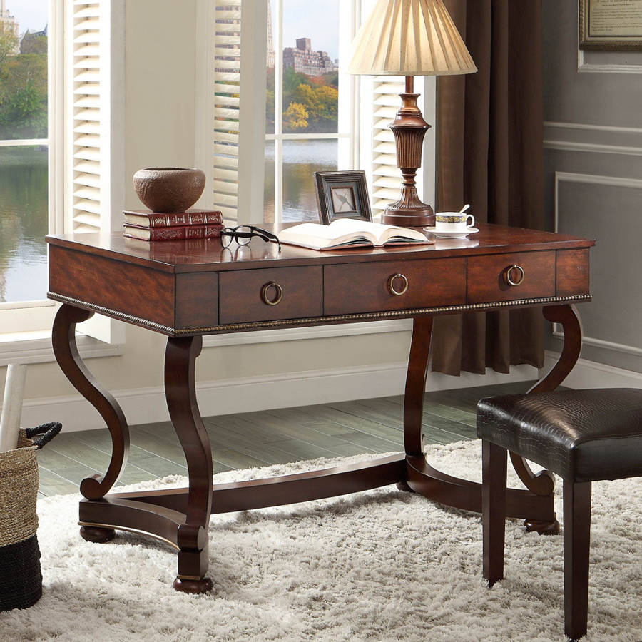Fabulous Home Elegance Maule Cherry Writing Desk With 3 Drawers Bralicious Painted Fabric Chair Ideas Braliciousco