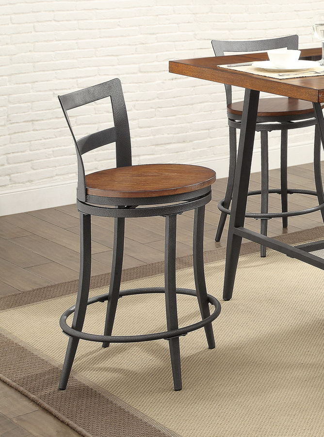 2 Home Elegance Selbyville Cherry Gunmetal Swivel Counter Height Chairs The Cly