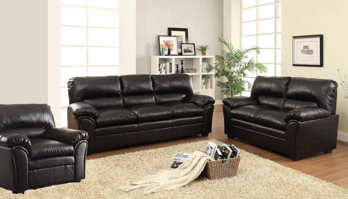 Talon transitional black taupe bonded leather living room for Best living room set deals