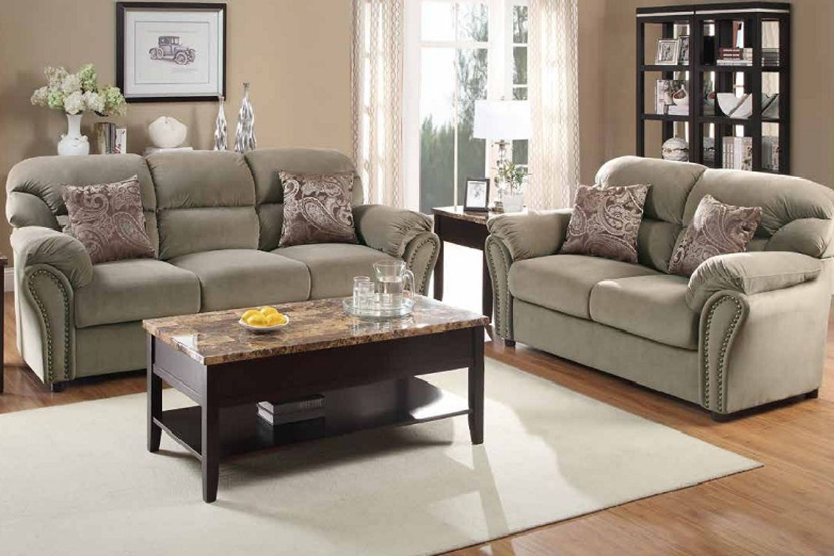Valentina brown wood microfiber 3pc living room set living rooms