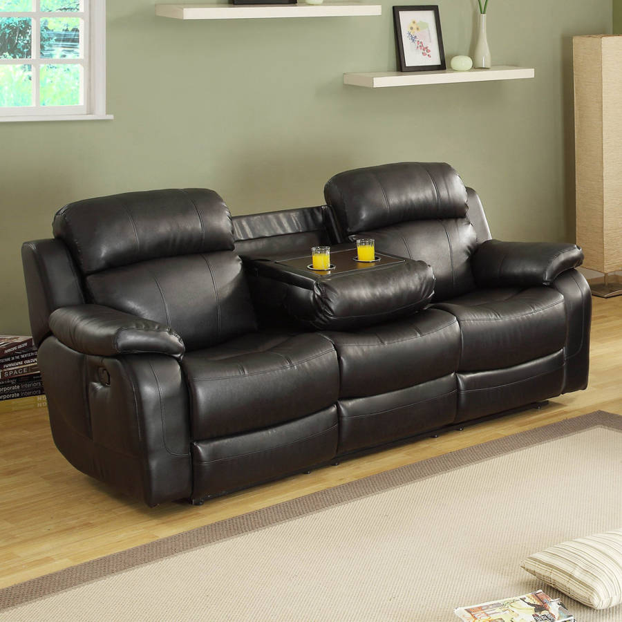 Marille Black Wood Microfiber Double Reclining Sofa W/Cup
