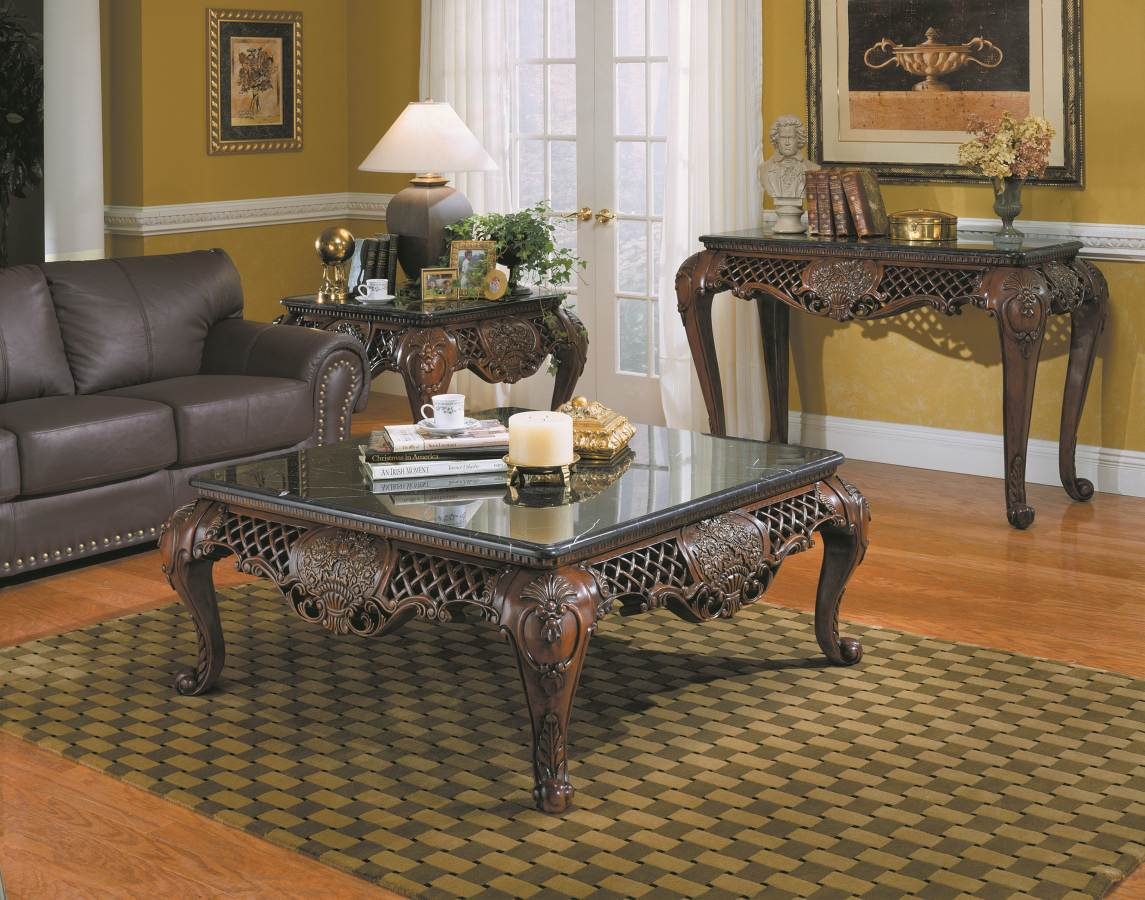 Gladstone Traditional Dark Cherry Wood Marble Top Coffee Table Set The Classy Home