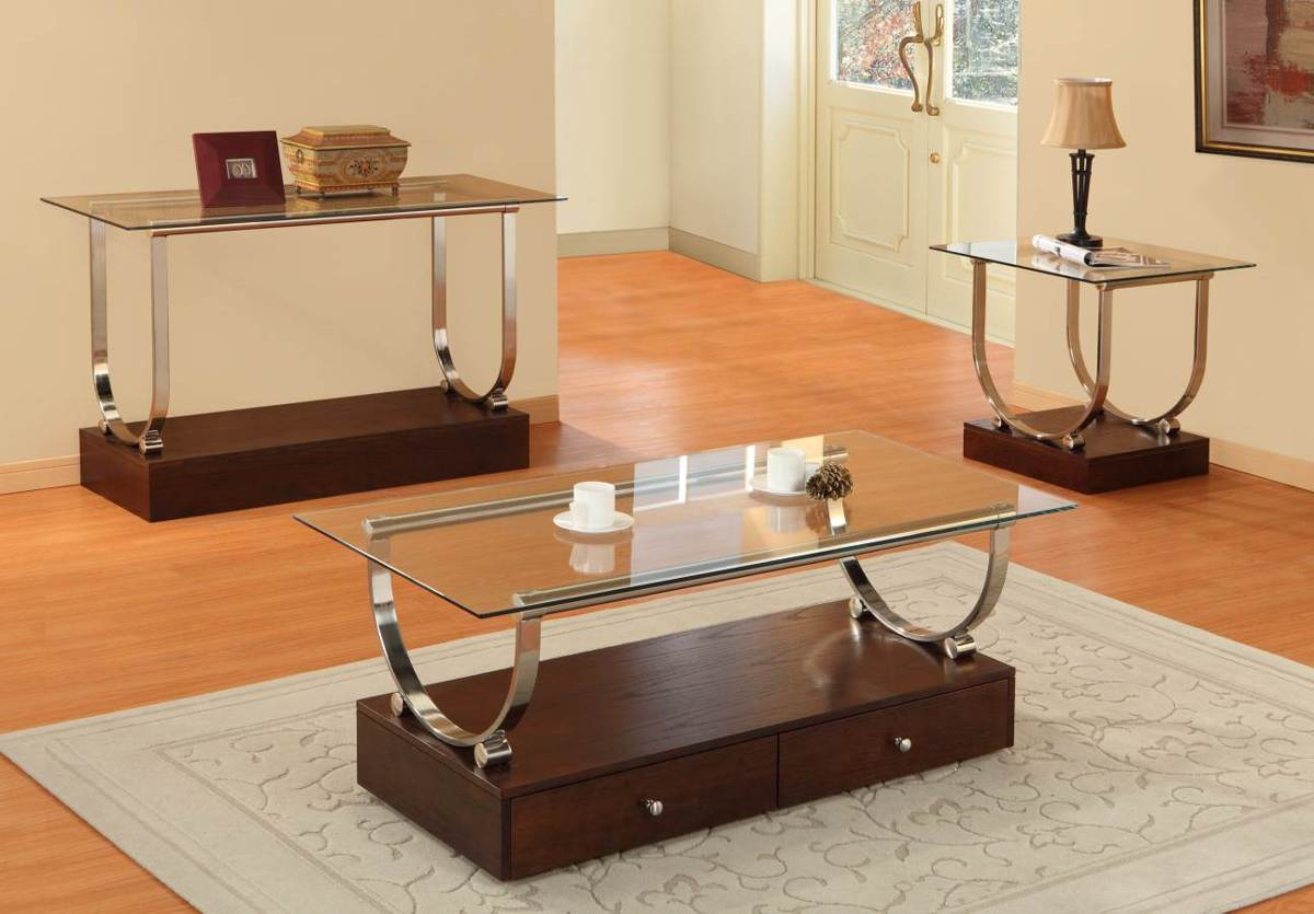 quigley chrome metal cherry wood glass end table the classy home. Black Bedroom Furniture Sets. Home Design Ideas