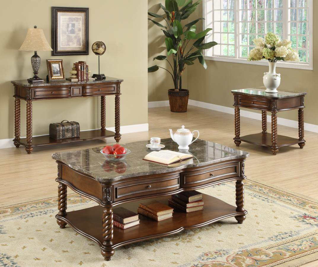 Home Elegance Lockwood 4pc Coffee Table Set With Marble Top The Cly