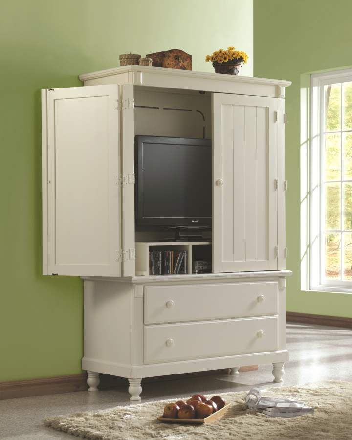 Pottery Old World White Wood TV Armoire | The Classy Home