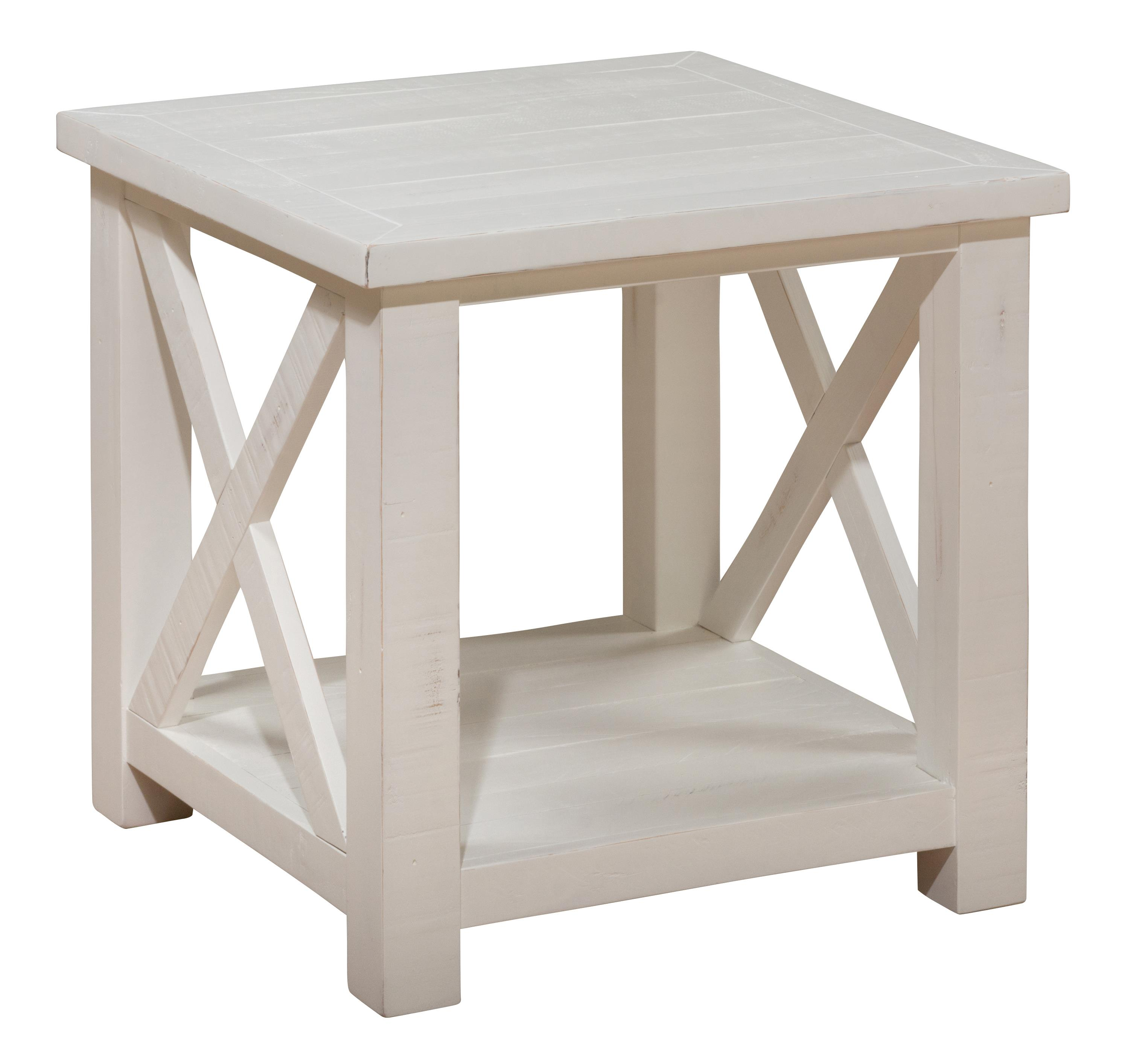 Madaket White Solid Wood Reclaimed Pine End Table W/Shelf