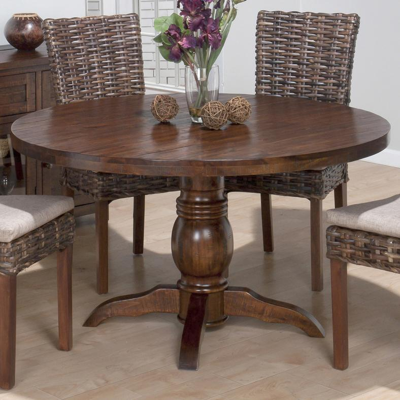 Jofran Urban Lodge Brown Round Pedestal Dining Table Jfn 733 52 The Cly Home