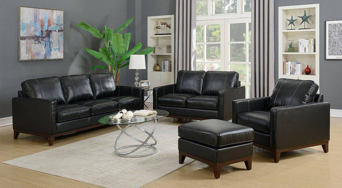 Jennifer Furniture Clancy Black Leather 4pc Living Room Set
