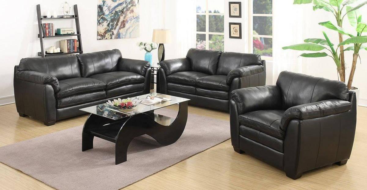 Jennifer Furniture Midtown Black Leather 3pc Living Room Set