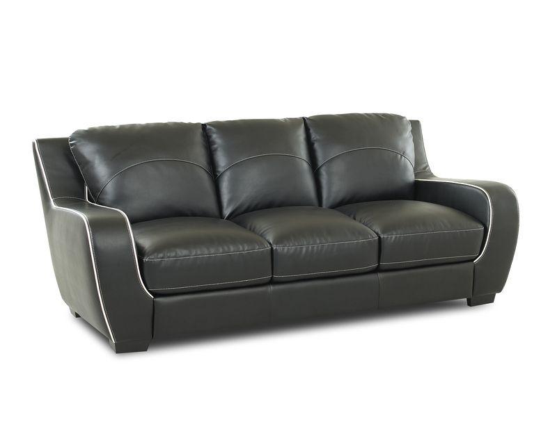 Ezekial Standard Black White Bonded Leather Sofa The
