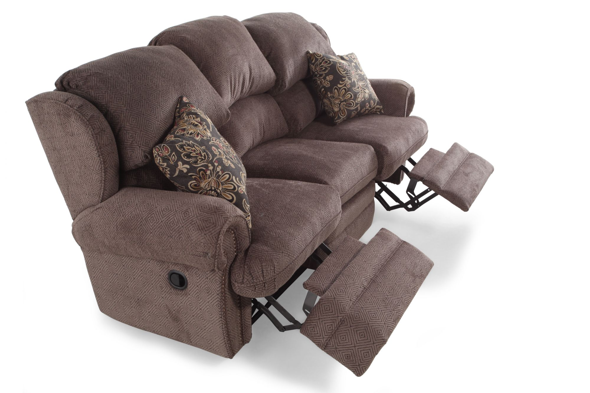 Hancock Viper Mink Ambrose Twilight Fabric Double Reclining Sofa