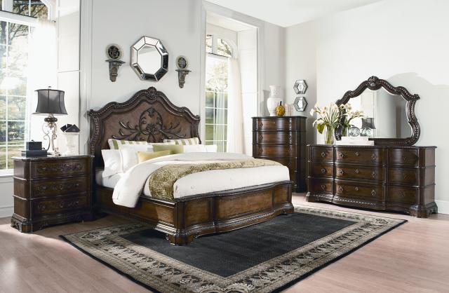 Pemberleigh gracious living walnut master bedroom set for Best deals on bedroom furniture sets