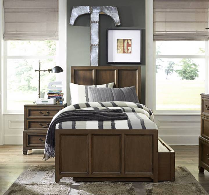 Kenwood Transitional White Oak Wood Twin Panel Bed w/Trundle Drawer LGC-4800-TPBED-TD