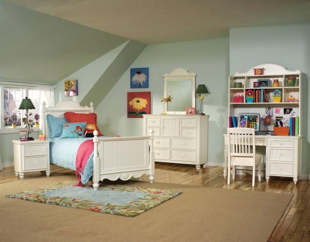 summer breeze white 4pc kids bedroom set w twin scroll top poster bed the classy home. Black Bedroom Furniture Sets. Home Design Ideas