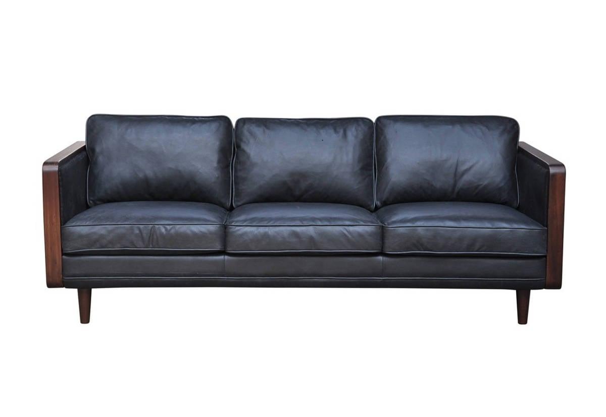Oxford Black Leather Mandalay Sofa