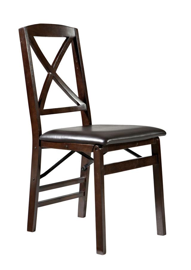2 Linon Triena Dark Brown Espresso X Back Folding Chairs