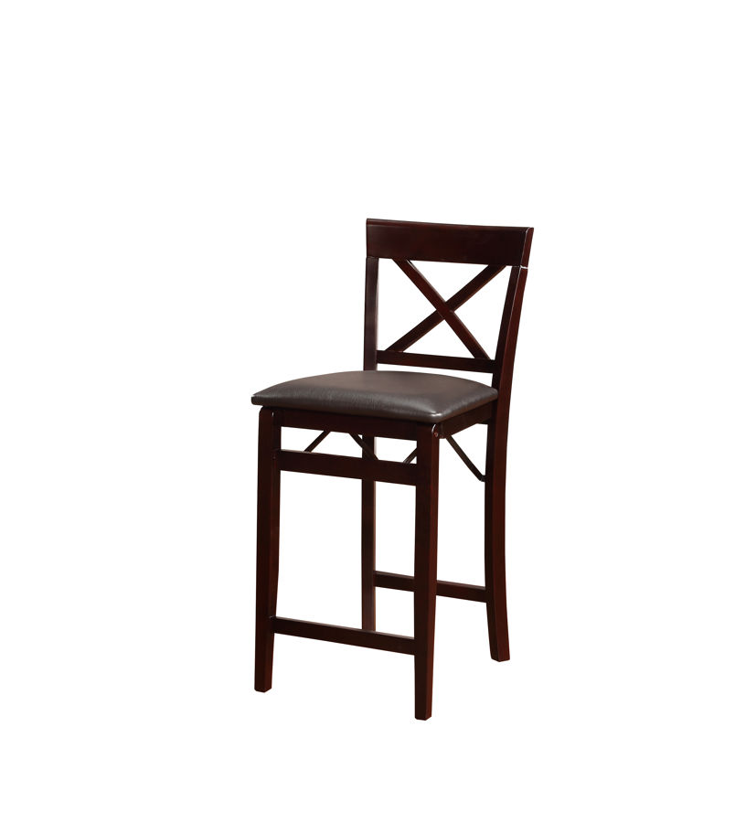 Linon Triena Brown Espresso X Back Folding Counter Stool