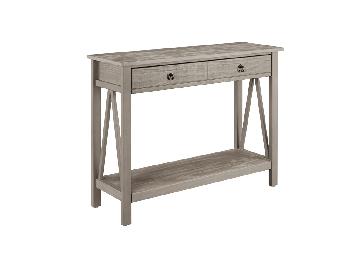 Titian Rustic Gray Pine Console Table