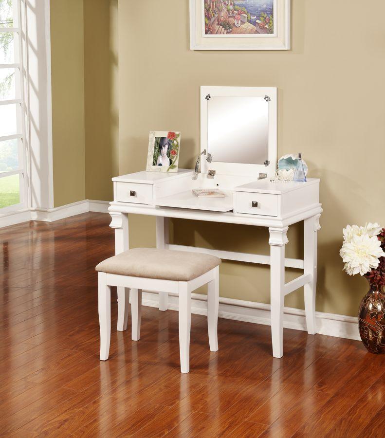 Linon Angela White Beige Vanity Set