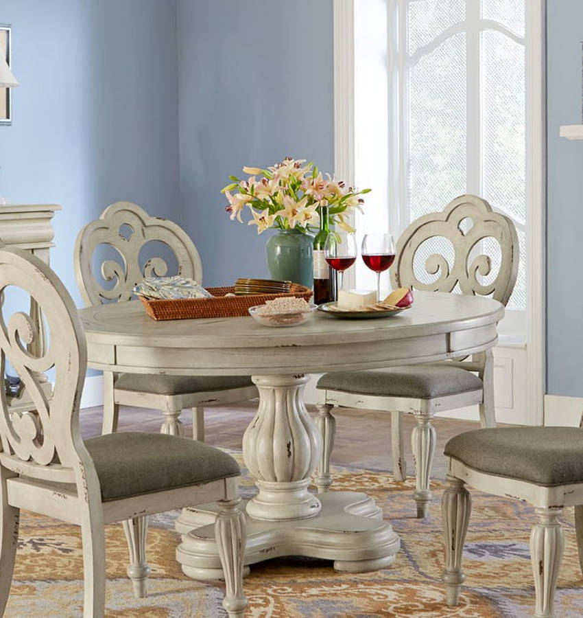 Largo Devonshire Misty Gray Round Dining Table The Classy Home