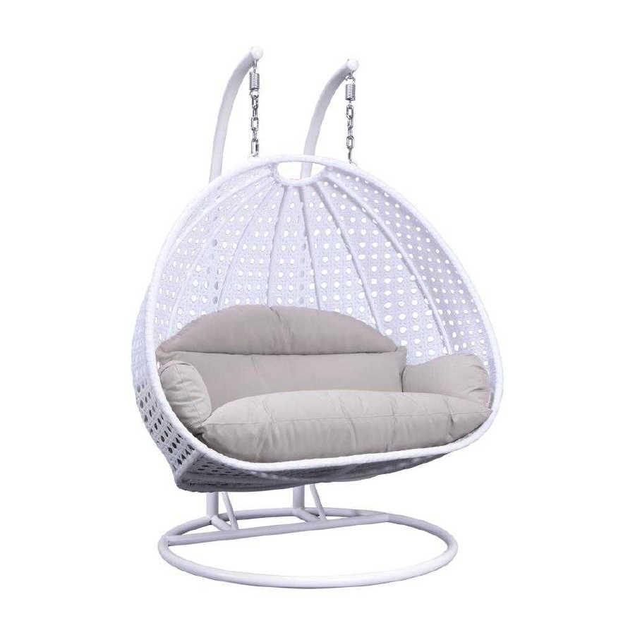 Brilliant Leisuremod Egg White Beige Wicker Hanging Swing Chair Theyellowbook Wood Chair Design Ideas Theyellowbookinfo