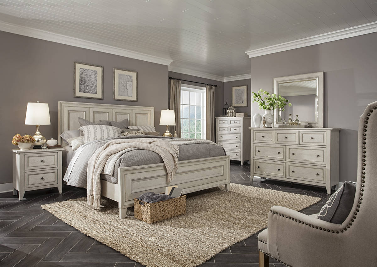 Raelynn traditional weathered white solid wood master for White wood bedroom furniture