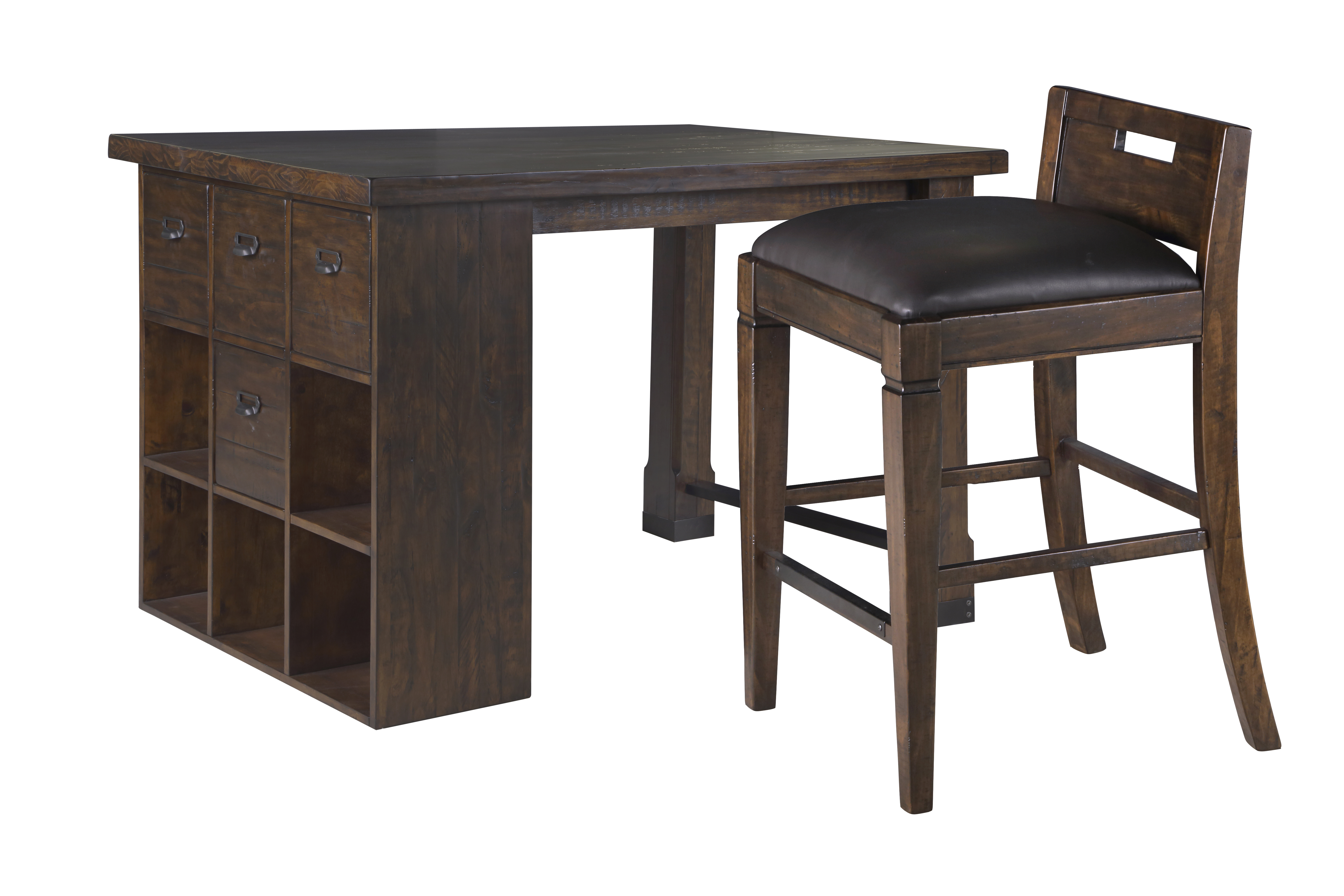 Pine Hill Transitional Pine Wood PU Counter Height Desk