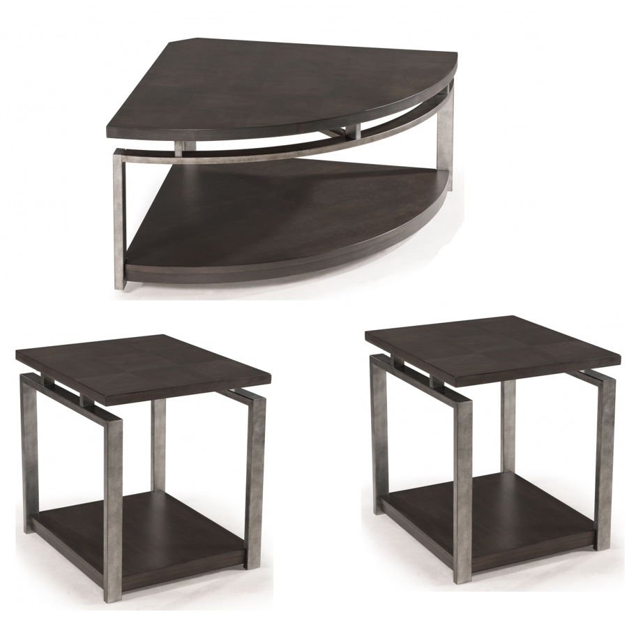 Magnussen Home Alton 3pc Coffee Table Set With Pie Shaped Table | The  Classy Home