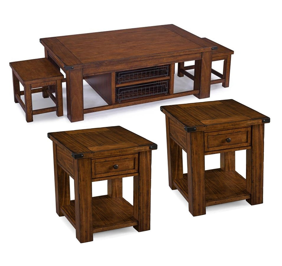 Distressed Coffee Table Sets: Parker Lane Cottage Distressed Natural Pine Wood 3pc