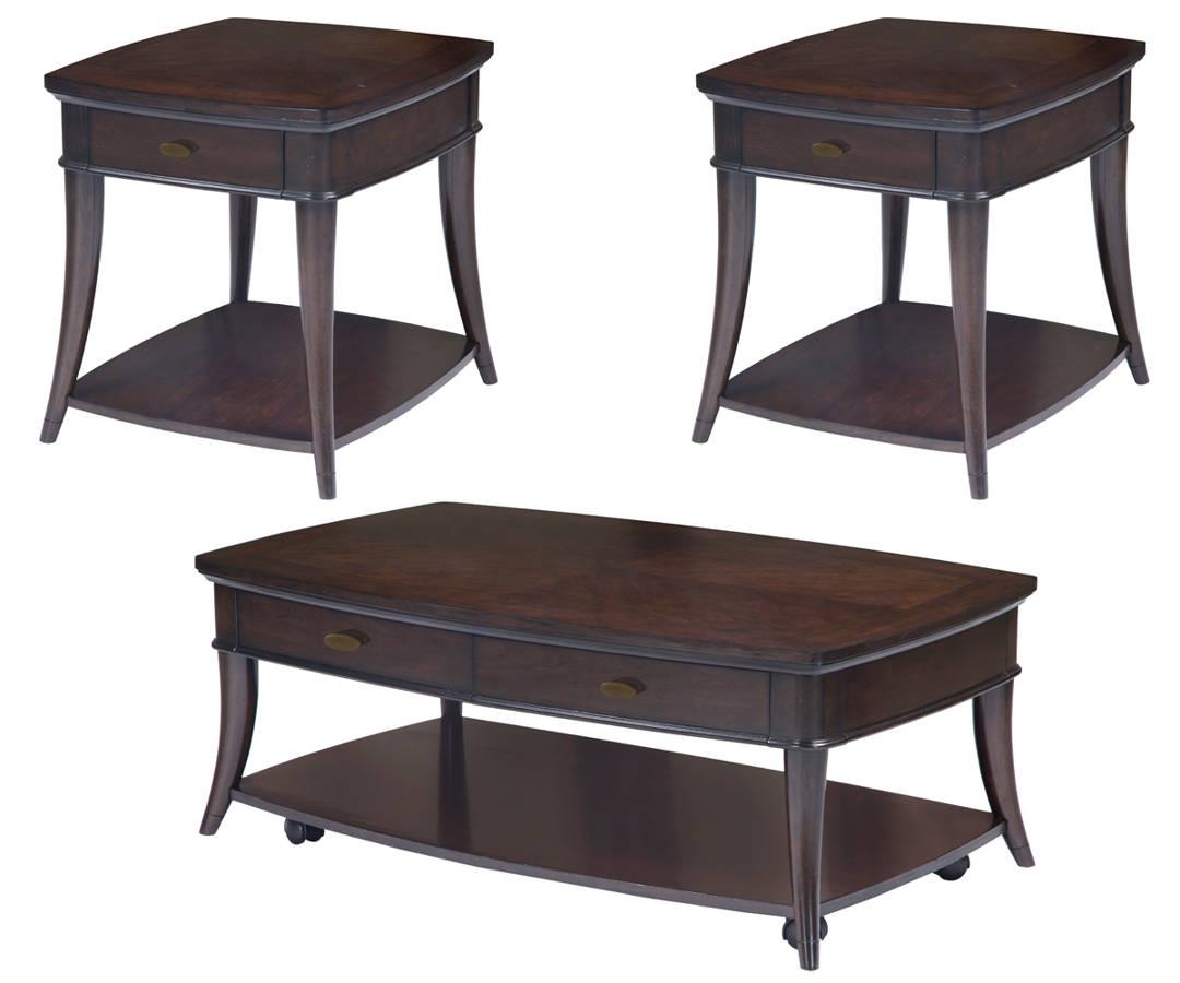 Avon Transitional Dark Cherry Wood Coffee Table Set