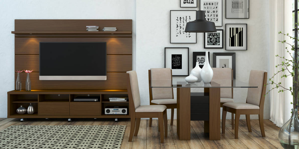 Cabrini Nut Brown MDF Telescopic Slides Wheels TV Stand W/2.2 Panel | The  Classy Home