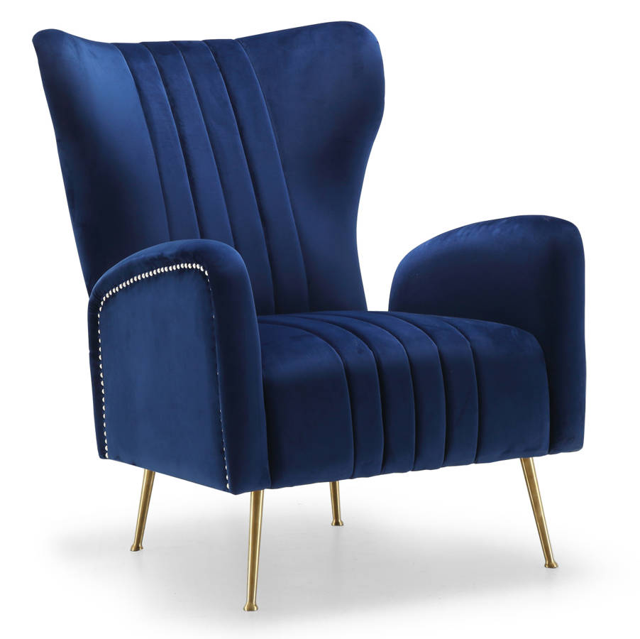 Meridian furniture opera navy accent chair the classy home