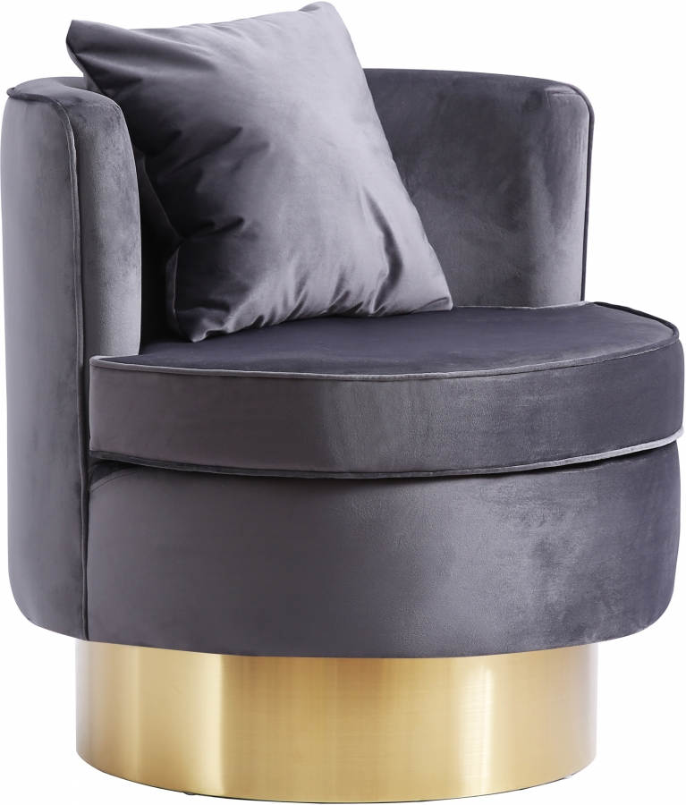Miraculous Meridian Furniture Kendra Grey Velvet Gold Accent Chair Gmtry Best Dining Table And Chair Ideas Images Gmtryco