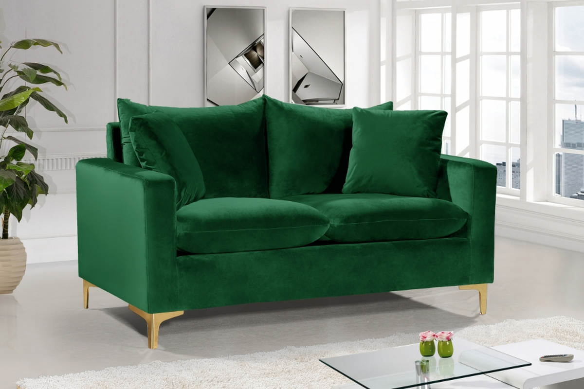 Prime Meridian Furniture Naomi Green Velvet Loveseat Andrewgaddart Wooden Chair Designs For Living Room Andrewgaddartcom