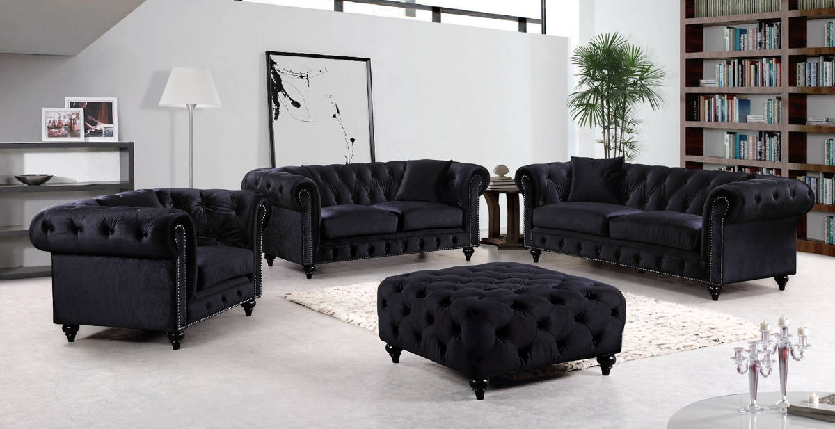 Chesterfield Black Velvet Pillows Included Living Room Set The Classy Home