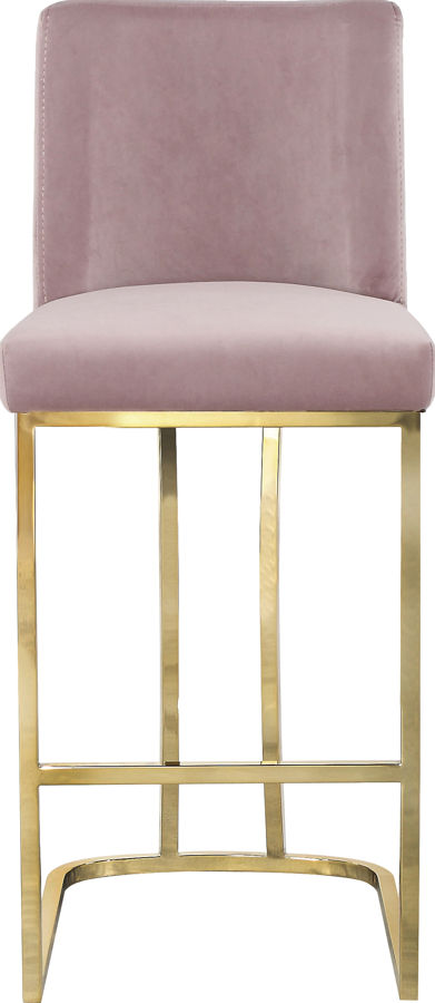 Miraculous Meridian Furniture Heidi Pink Velvet Gold Base Stool Machost Co Dining Chair Design Ideas Machostcouk