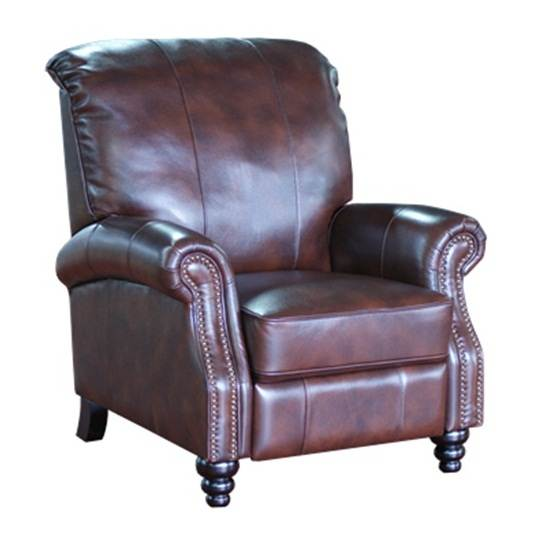 Laredo Brown Leather Dining Chair: Barcalounger Monarch II Laredo Brown Push Through The Arm