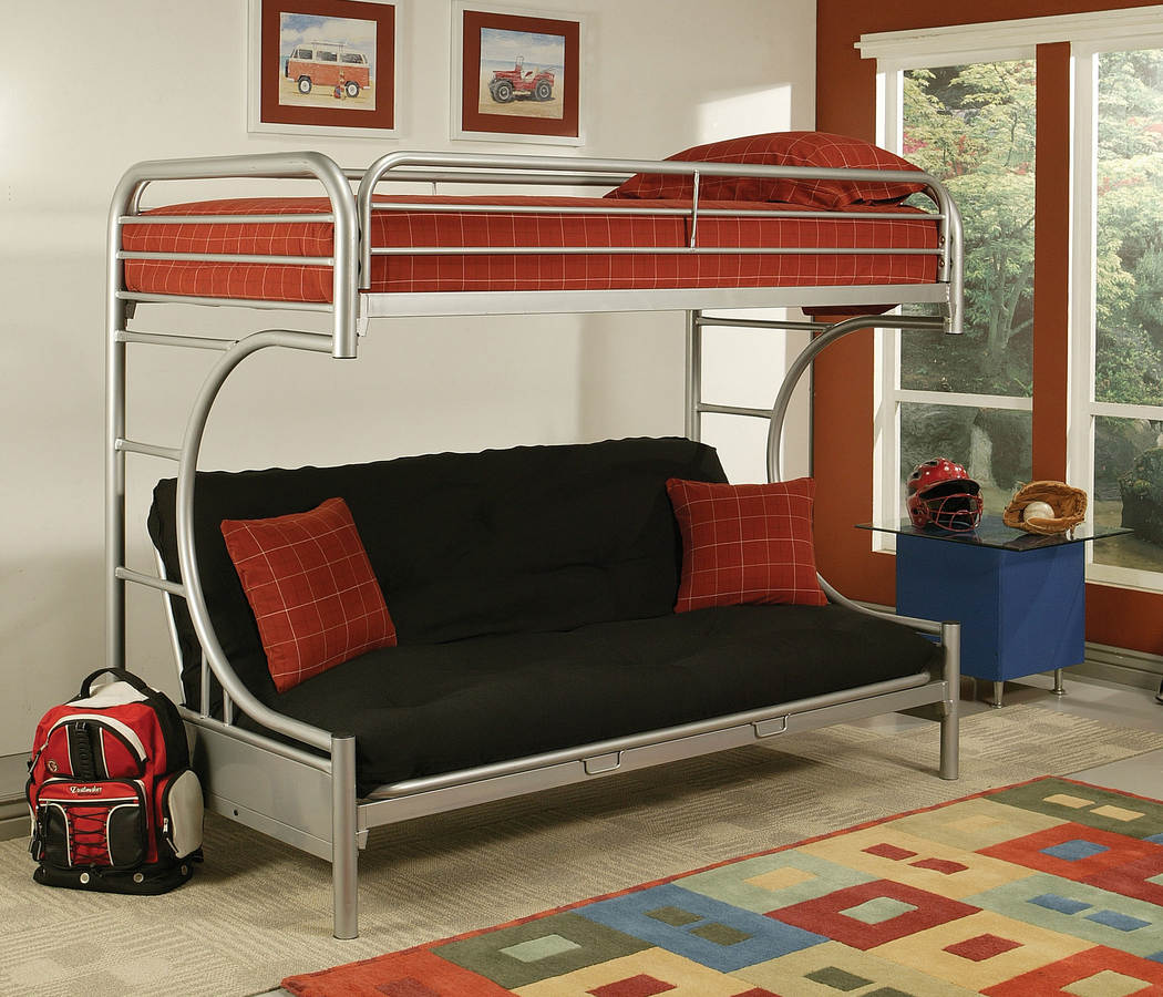 Home Roots Eclipse Silver Twin Xl Over Queen Futon Bunk Bed The Cly