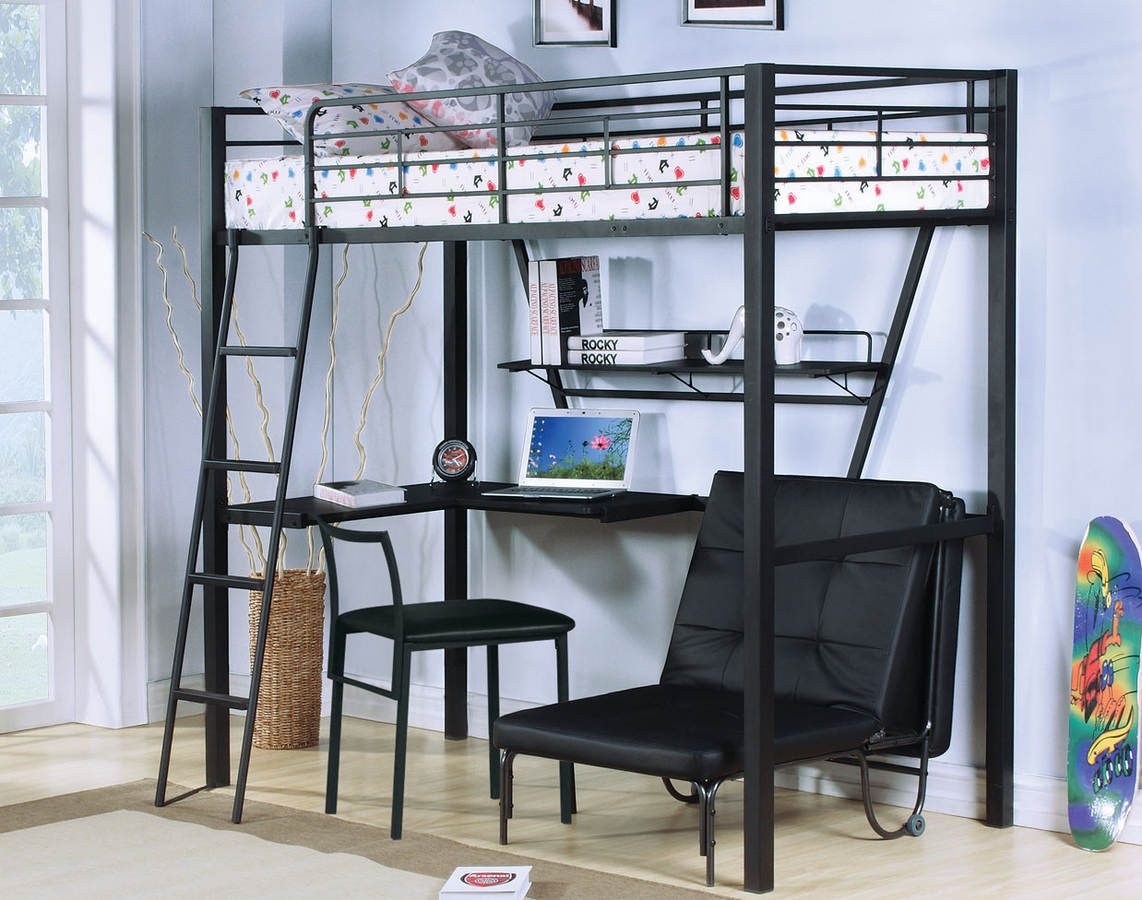 Home Roots Senon Black Loft Bed With Desk And Futon Chair The Cly