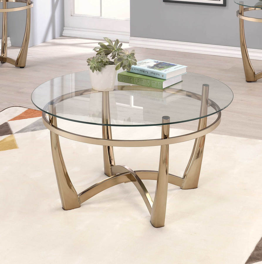 Home roots orlando ii champagne coffee table the classy home