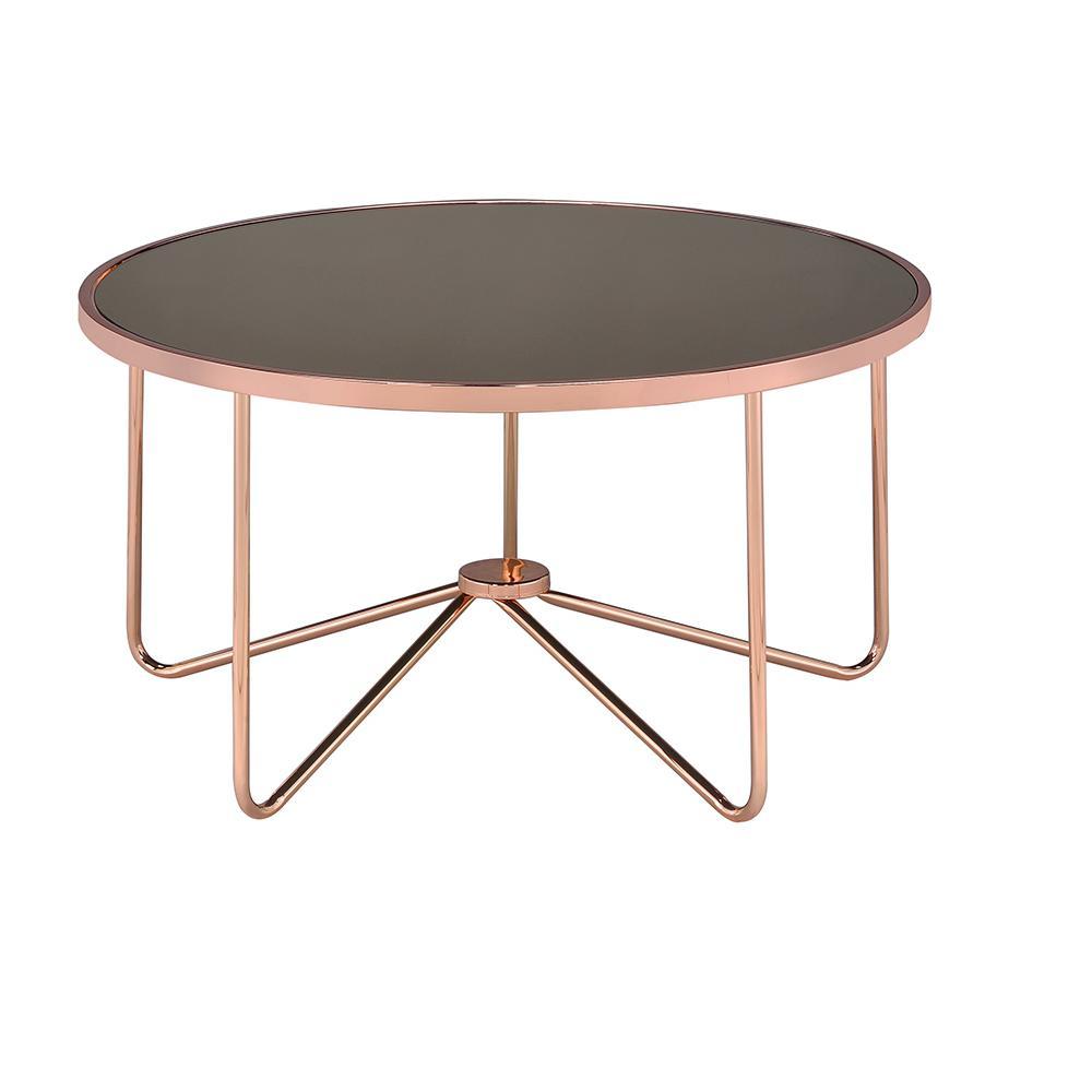 Homeroots Alivia Smoky Gl Rose Gold Coffee Table