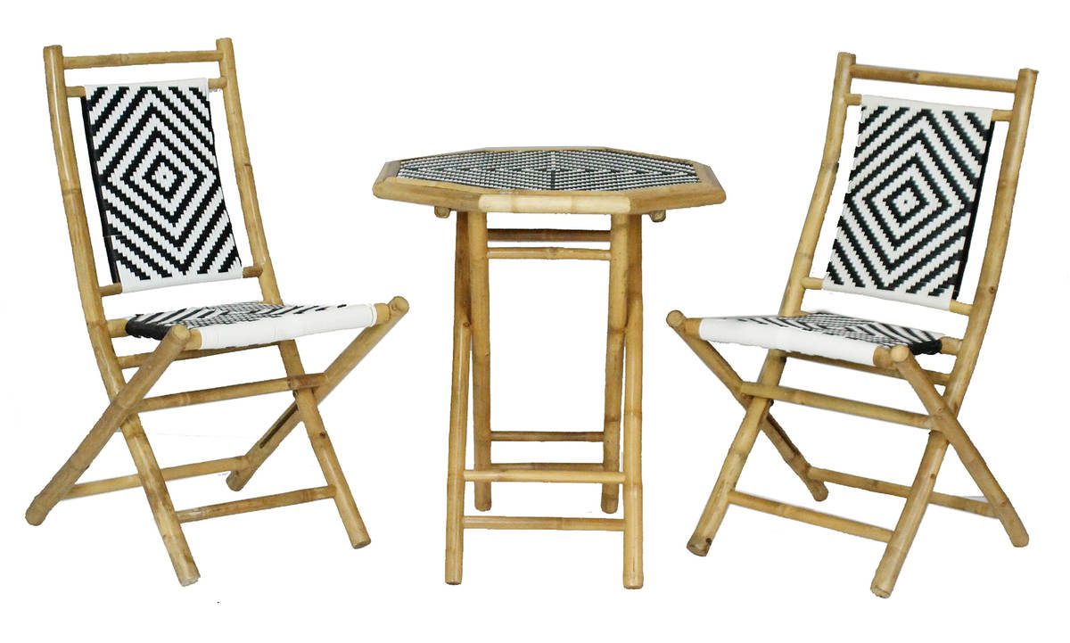 Miraculous Homeroots Hana Bistro Natural Black White 3Pc Outdoor Dining Sets Forskolin Free Trial Chair Design Images Forskolin Free Trialorg